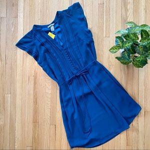 H&M Flutter Cap Sleeves Teal Shirt Dress Size 8
